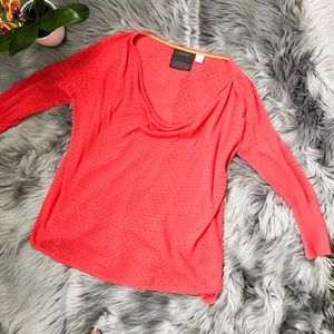 Anthro Guinevere coral Lightweight Sweater